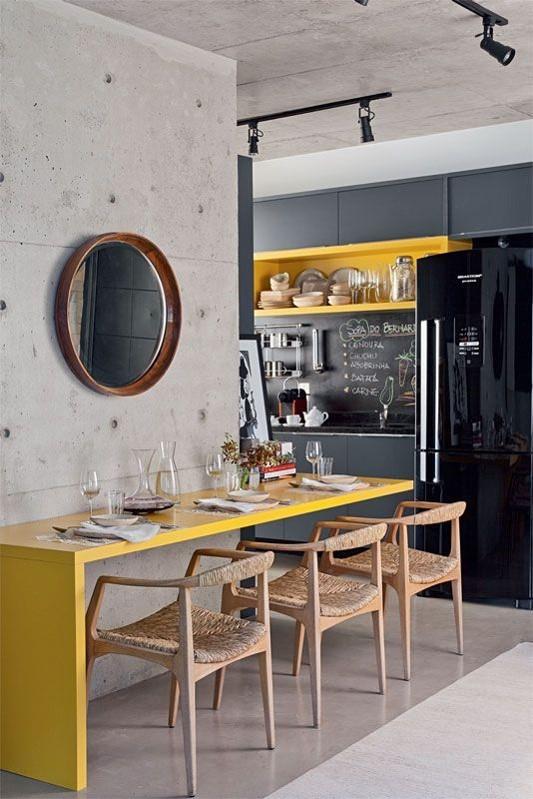 Cozinha moderna com um toque rústico, industrial